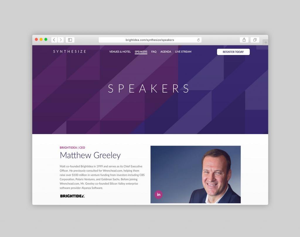 Synthesize Conference Website Speaker Page